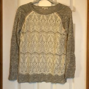 Mystree lace front sweater